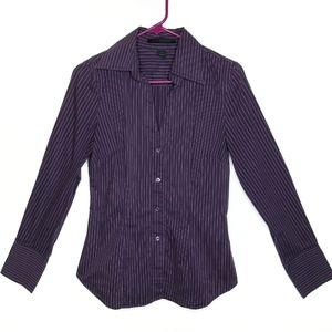 Express Pinstripe Button Down Dress Shirt Purple S
